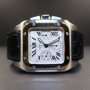Cartier Santos 100 Steel And Yellow Gold Chronograph (Pre-Owned) CAR-002