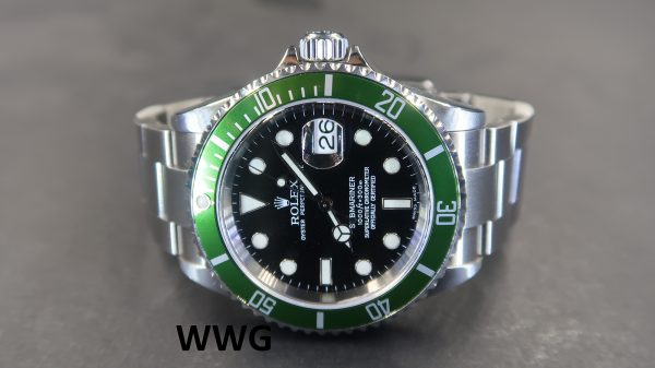 "Rolex Submariner Date 16610LV ""Kermit""(Pre Owned Rolex Watch)RL-585"