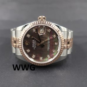 Rolex Datejust 31 178271 Black Mop Dial Diamond Index (Pre Owned Rolex Watch) RL-659