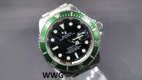 "Rolex Submariner Date 16610LV ""Kermit"" With Chapter Ring(Pre Owned Rolex Watch)RL-653"
