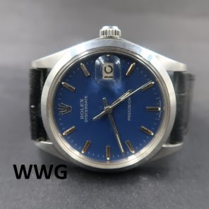 Rolex OysterDate Precision 6694 Blue Recond Dial (Pre-Owned Rolex Watch) RL-688